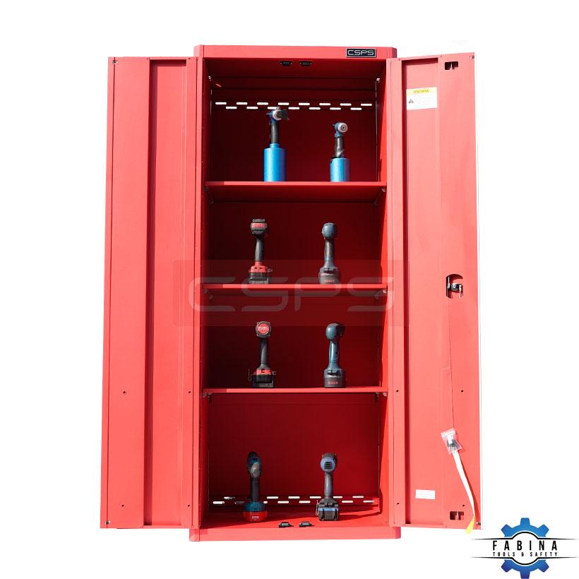 Tủ cao 2 cánh mở bên trong 3 ngăn nhỏ màu đỏ CSPS