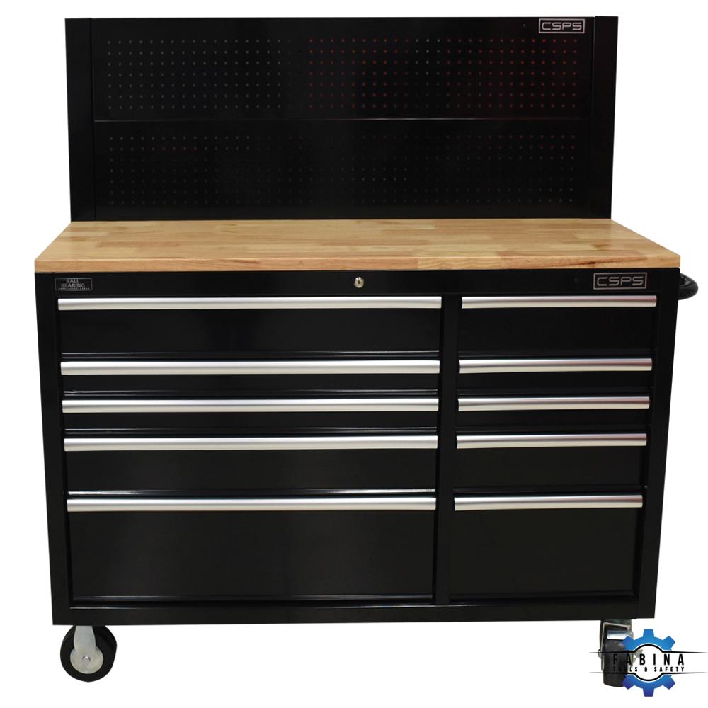 Tủ đồ nghề 10 ngăn mặt ván gỗ với giá treo CSPS