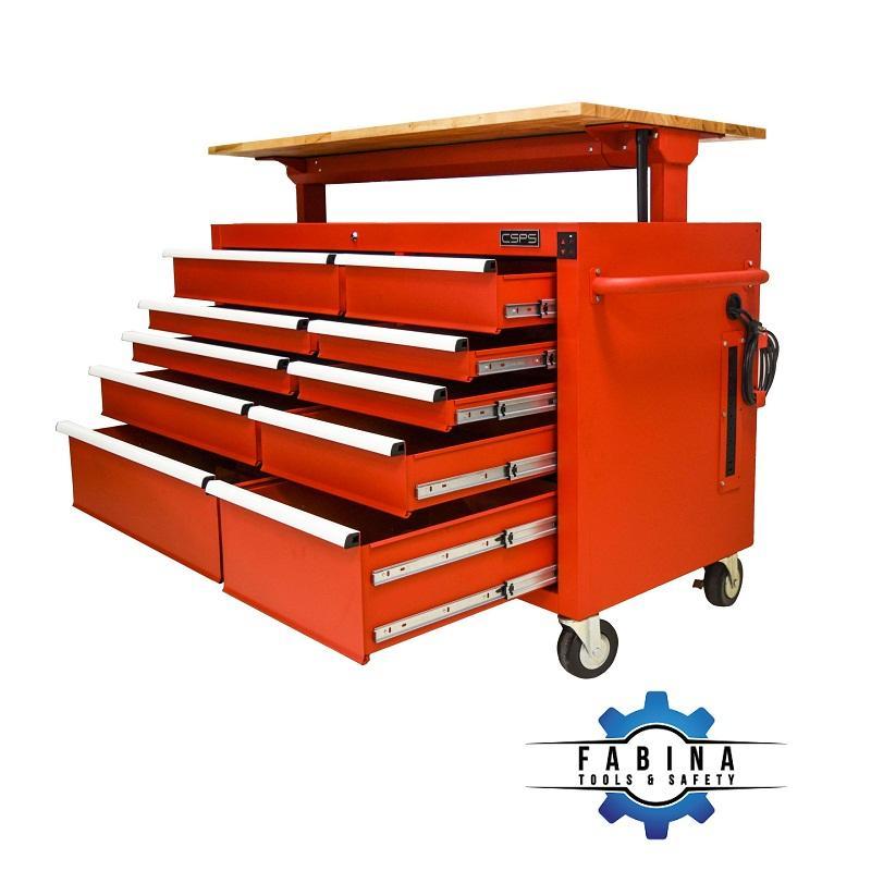 Tủ dụng cụ 10 ngăn đỏ cao cấp điều chỉnh chiều cao điện tử CSPS
